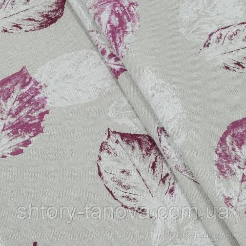 Декоративная ткань для штор, листья розовый