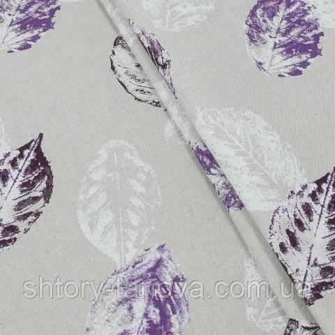 Декоративная ткань для штор, листья фиолетовый