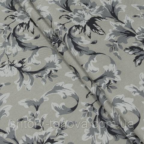 Декоративная ткань для штор, цветочный вензель, серо-бежевый