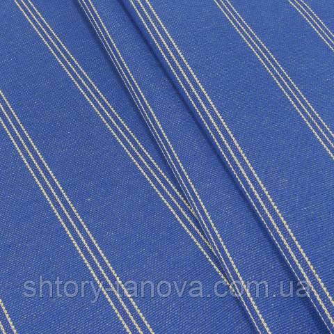 Декоративная ткань для штор, лён, полоска, василёк