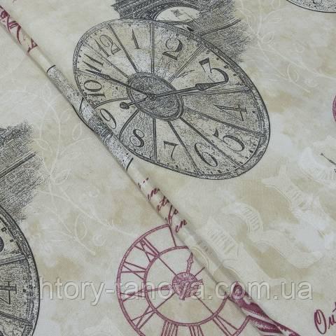 Декоративная ткань для штор, часы