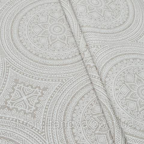 Декоративная ткань для штор, орнамент, белый