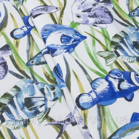 Декоративная ткань для штор, рыбки синий