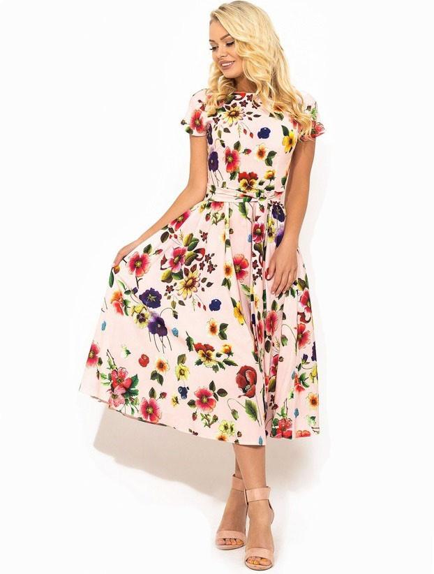 f48ea250e3e7707 Летнее Платье Из Ткани Софт в Цветочек Д-1410 — в Категории