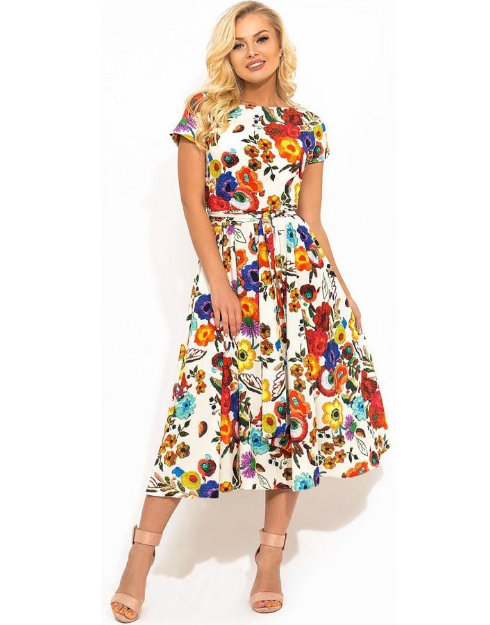38ebabca5a1d934 Летнее Платье Из Ткани Софт в Цветочек Д-1411 — в Категории