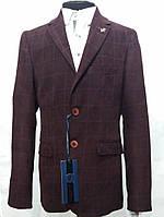Бордовый пиджак для подростка в клетку Victor Enzo 5005