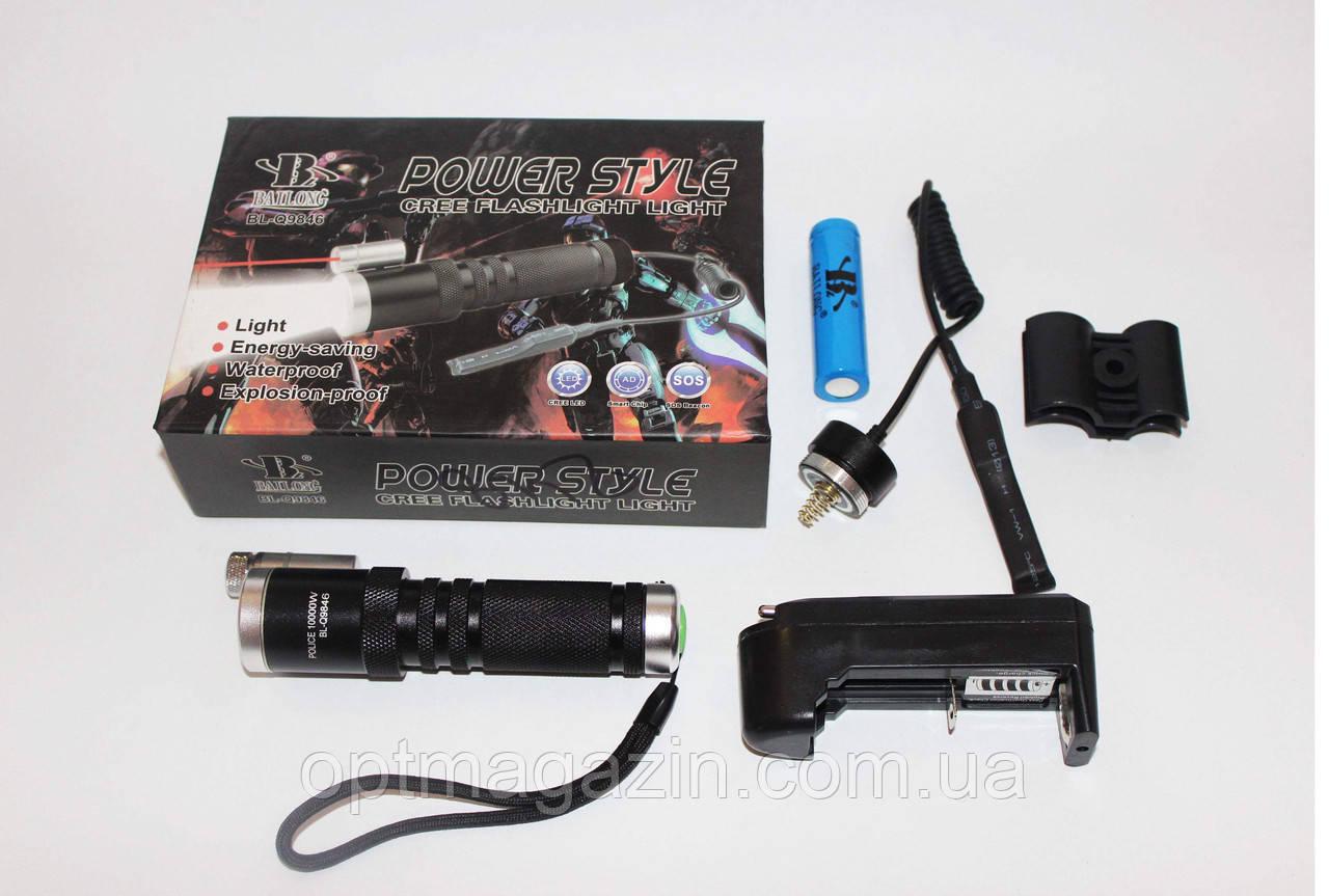 Акумуляторний ліхтарик BAILONG Police Q9846-XPE, під руж., лазер