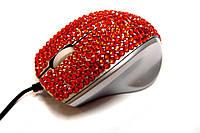 USB проводная оптическая мышка с камнями Swarovski женская мышь RED
