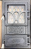 Дверца для печи и барбекю Цветок декор, печная дверца со стеклом