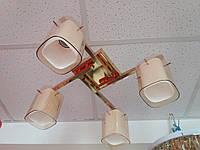 Люстра стельова на 4 чотири плафона 1129 золотиста, фото 1