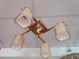 Люстра потолочная на 4 четыре плафона 1129 золотистая