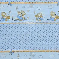 """Бязь для детской постели с рисунком """"Мишки с мёдом"""" (Польша) - цвет голубой"""