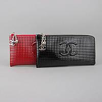 Клатч кошелек женский лаковая черная кожа на молнии Chanel 40314