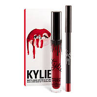 Матовый блеск Kylie + мягкий карандаш для губ (поштучно Mary Jo k)