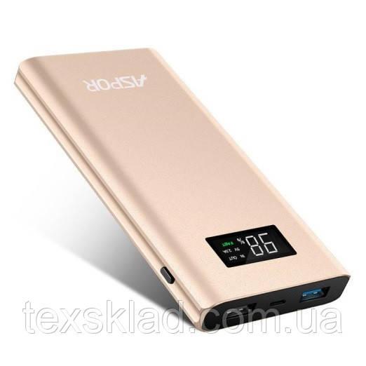Power Bank Зовнішній акумулятор Aspor 10000mAh з дисплеєм заряду