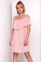Летнее платье с воланами розового цвета. Модель 35976. Размеры 42-46