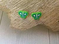 Серьги-гвоздики с бабочкой (силиконовые)
