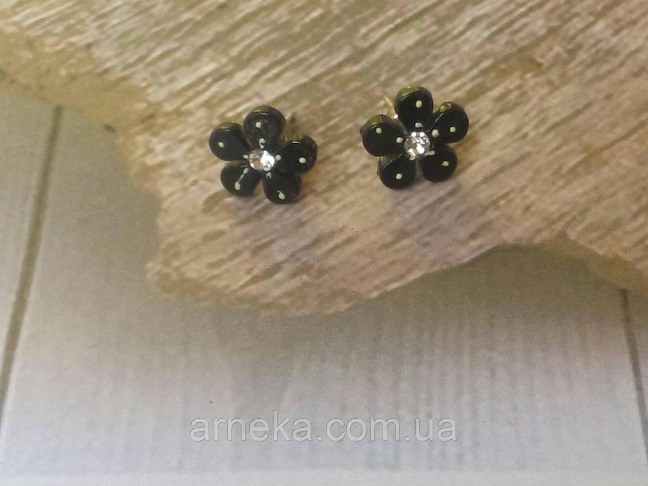 Серьги-гвоздики с цветком (металлические)