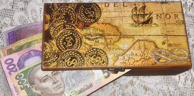 Шкатулка купюрница для денег деревянная . Шкатулка под деньги.