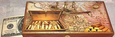 Шкатулка купюрница для денег деревянная . Шкатулка под деньги.Пиратский корабль