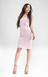 Облегающее платье с кружевом без рукава. Приталенное миниплатье. Пудровое, бежевое, голубое.