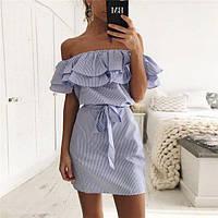 Платье женское короткое в полоску с двойным воланом (К23229)