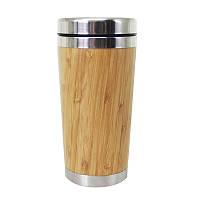 Термокружка SUNROZ Bamboo Mug из натурального дерева с ручкой 450 мл Светло-Коричневый (SUN1124)