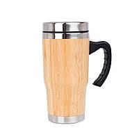 Термокружка SUNROZ Bamboo Mug из натурального дерева с ручкой 450 мл Светло-Коричневый (SUN1122)