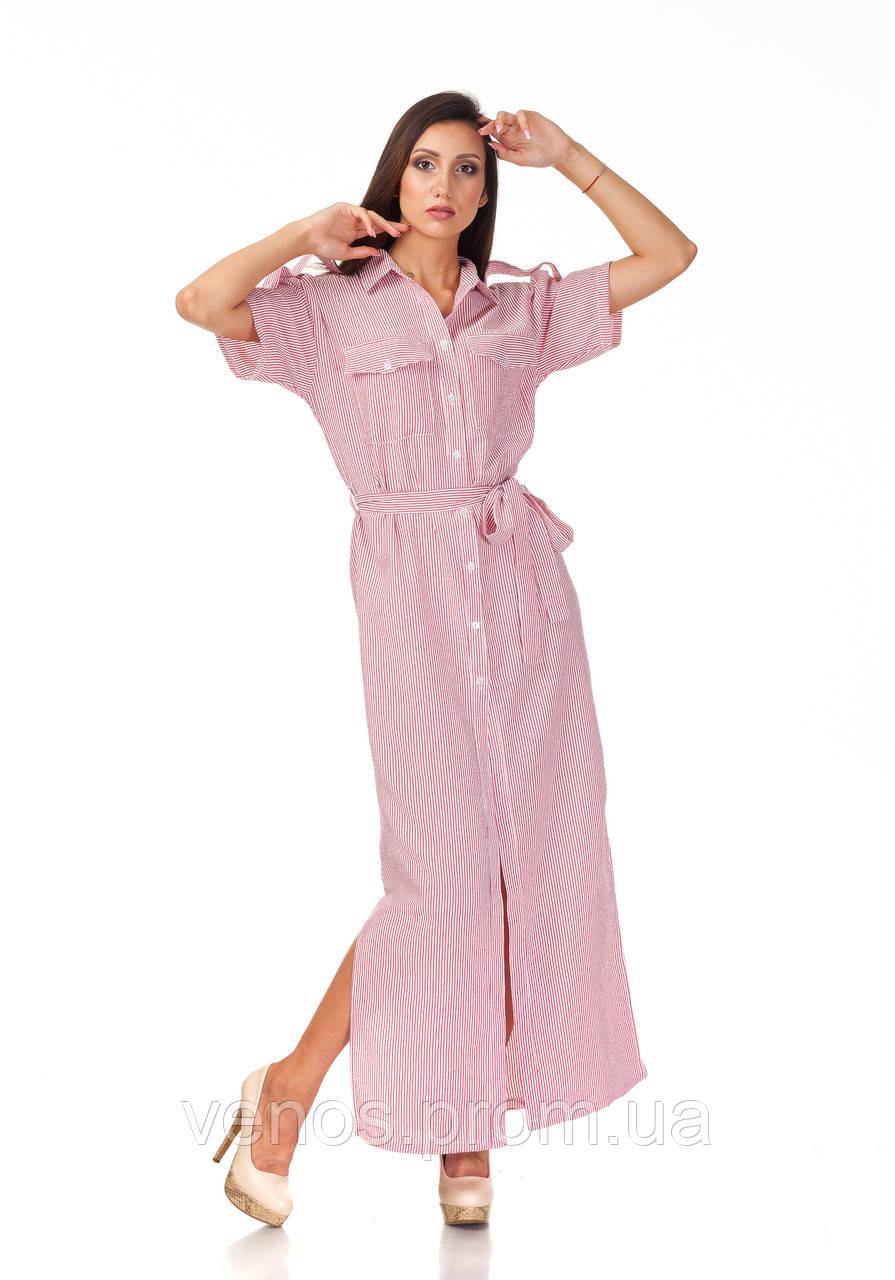 Длинное хлопковое женское платье рубашка. П122