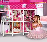 Домик для кукол 66884 два этажа с мебелью и три куклы, фото 2
