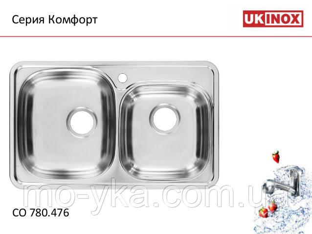 Кухонная мойка ukinox COМ 780.480.18 L (матовая)