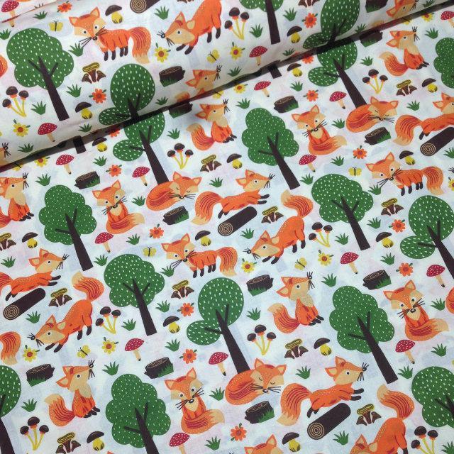 ecd103e688097 Ткань польский хлопок лисички с деревьями на бежевом: продажа, цена ...