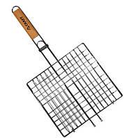 Решетка для гриля 27х24х2см деревяная ручка