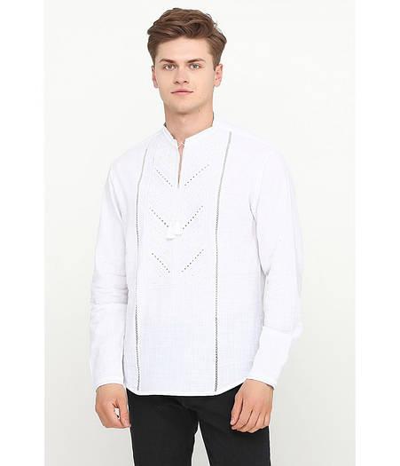Біла чоловіча лляна сорочка з вишивкою  продажа 1c8d620c5ee44
