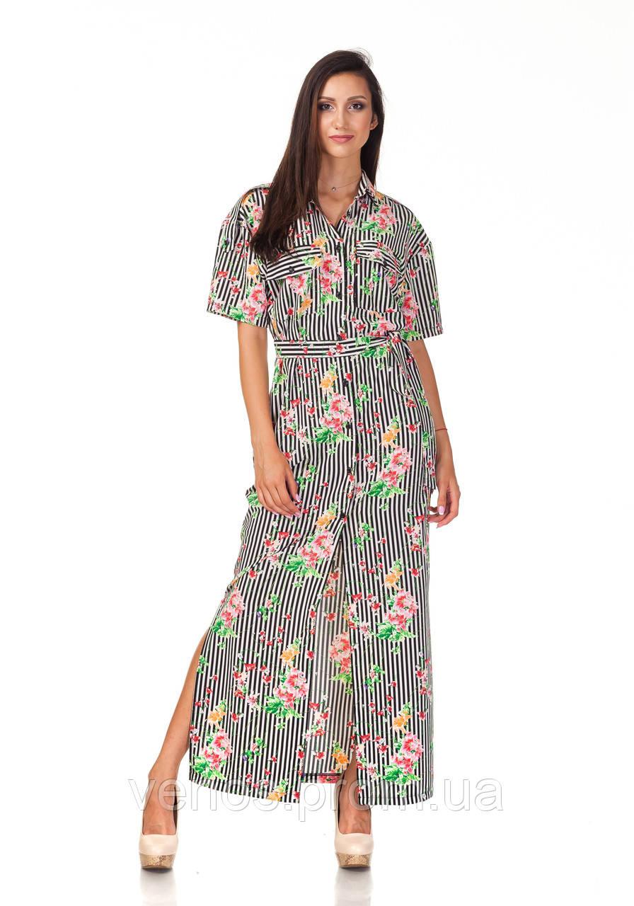 Длинное платье рубашка с цветочным принтом. П122