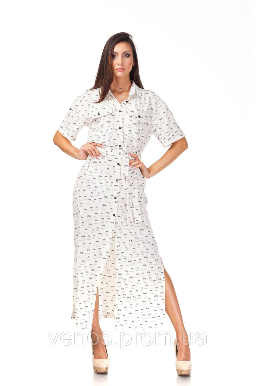 Легкое длинное платье рубашка . П122