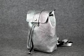 Женский рюкзак на затяжках с кнопкой |11941| Серебро