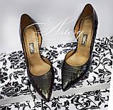 Жіночі темно-зелені туфлі з крокодила на шпильці, фото 2