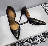 Жіночі темно-зелені туфлі з крокодила на шпильці, фото 3