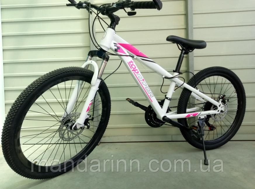 Спортивный подростковый велосипед TopRider 814 24 дюйма. Бело-малиновый
