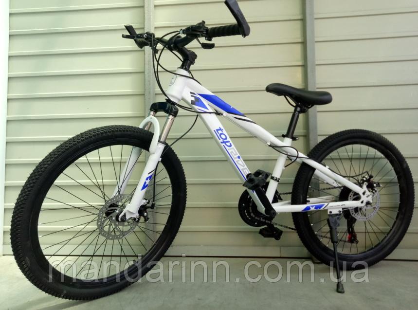 Спортивный подростковый велосипед TopRider 814 24 дюйма. Бело-синий