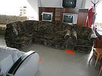 Диван угловой с креслом б/у, комплект мягкой мебели б/у