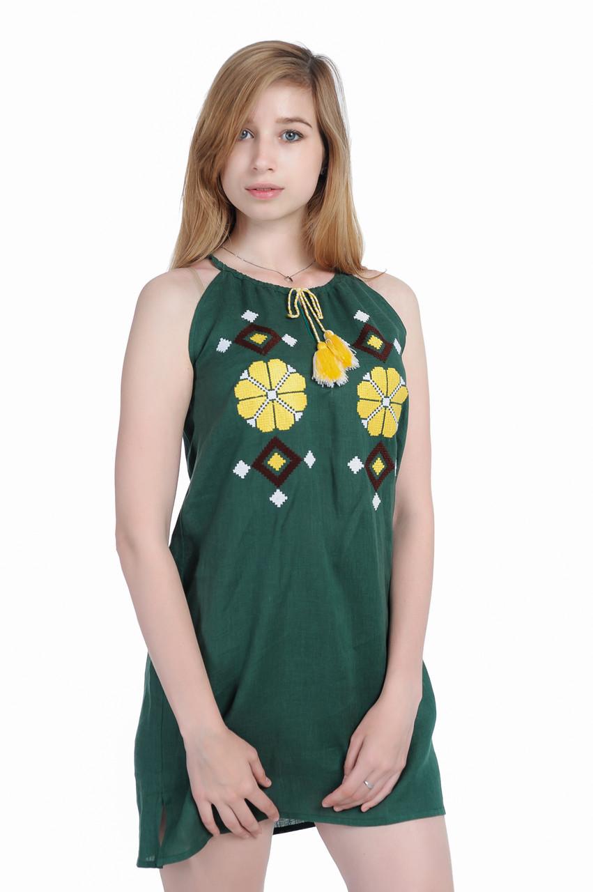 Сукня вишита «Гуцулка» міні зелена,  100% льон, фото 1