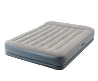 Двухместная самонадувающаяся кровать 64118, Велюровая надувная кровать со встроенным насосом 203*152*30см