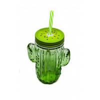 Кружка для коктелей с крышкой и трубочкой Кактус Зеленая 0,4 Л. 35029, фото 1