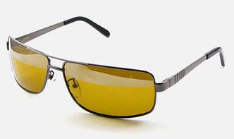 Поляризаційні окуляри для водія + ФУТЛЯР. Сонцезахисні Антифари. Золотиста оправа, фото 2