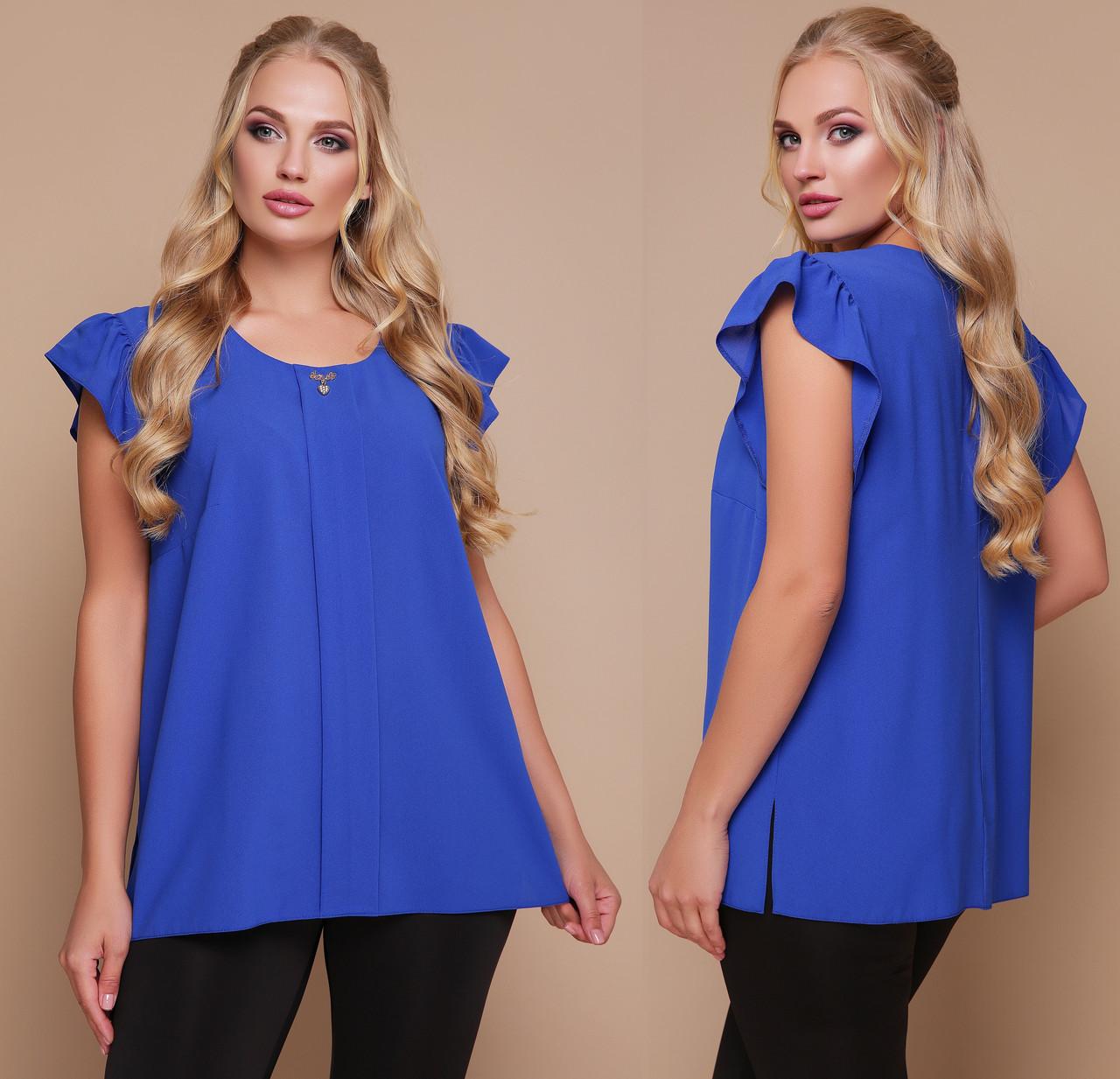 Блузка женская шифоновая нарядная блуза трикотажная летняя больших размеров рукав волан