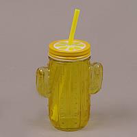 Кружка для коктелей с крышкой и трубочкой Кактус Желтая 0,4 Л. 35027, фото 1