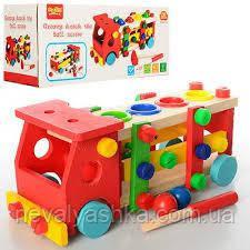 Деревянные игрушки Стучалка Колотушка машинка конструктор, M00727, 003995