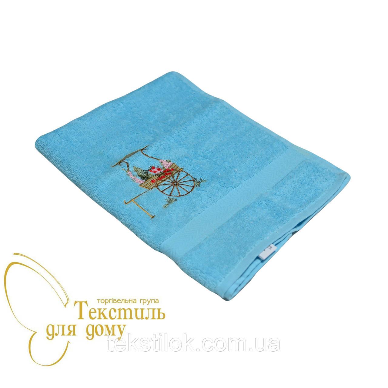 Полотенце для рук 40*70 вышивка букет, голубой